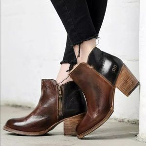 BED STU Yell Short Color Block Leather Bootie